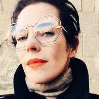 Fashion Vintage Square Sunglasses Women Hexagon Sun Glasses Brand Designer Men Mirror Clear Lens Sunglasses Metal