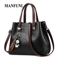 Tote bags For Women PU Leather Large Handbags Solid black Bear Decoration Soft Fashion Simple Handbags Bags Girls Shoulder Bags