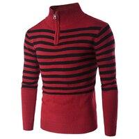 عيد الرجال سترة الموضة عارضة ضئيلة أحمر أسود شريط التحوط سترة ماركة ملابس سميكة الدافئة البلوز الياقة المدورة الرجال