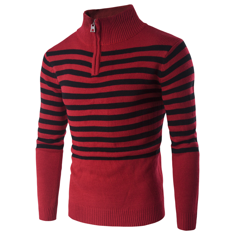 Christmas Sweater New Fashion Casual Slim Red Black Stripe Hedging Men Sweater Brand Clothing Thick Warm Pullover Turtleneck Men