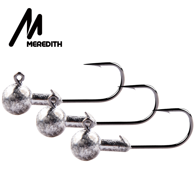 MEREDITH 10pcs/Lot High Quality 1.5g/2g/3.5g/5g/7g/10g/14g Lead Head Hook Jig Bait Fishing Hooks For Soft Lure Fishing Tackle title=