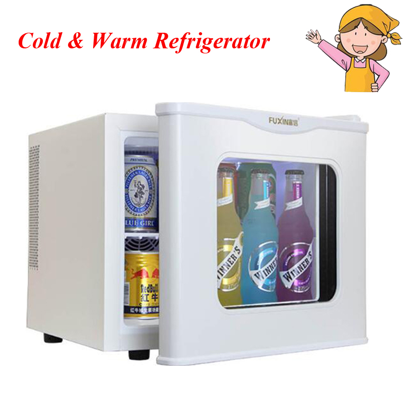 Tempered Glass Single Door Cold&Warm Refrigerator Household Small Refrigeration Heating Sample Cabinet 17L Mini Refrigerator 7 5l small fridge household refrigeration refrigerator car dual heating and cooling box home mini