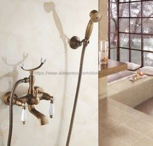 Antique Brass Dual Ceramic Handles Wall Mount Bathtub Faucet with Handshower Bathroom Tub Mixer Taps Btf157 bathroom tub faucet dual cross handles with hand held sprayer antique brass