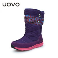 Uovo 2017 winter meisjes laarzen, Splash proof Meisjes Winter Laarzen, Antislip Meisjes Schoenen Thermische Kids Laarzen Voor Meisjes, Paars/Rose/Zwart