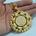 6CM /Middle East Coin Pendant Necklace Men - Gold Plated Necklaces Women,Arab Coins Metal Jewelry France Coin/Africa/Ethiopian
