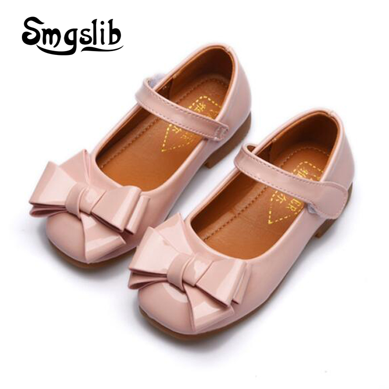 2018 Girls shoes kids spring sweet Princess dress party bowknot low heel leather shoes Toddler child dance pink wedding shoes