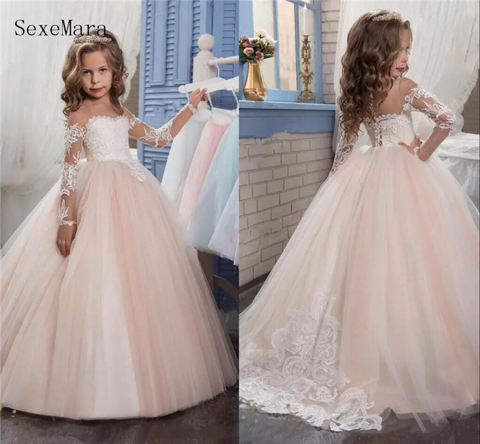 Arabic Blush Pink   Flower     Girls     Dresses   For Weddings Long Sleeves Lace Appliques Ball Gown   Girls   Birthday Communion Pageant Gown