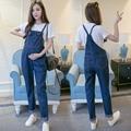 2016 лето беременным женщины дамы мешковатые джинсы зарубежные передник dungaree общая кнопка спагетти ремень ползунки