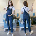 2016 summer maternity women ladies baggy denim jeans full length pinafore dungaree overall button spaghetti strap romper