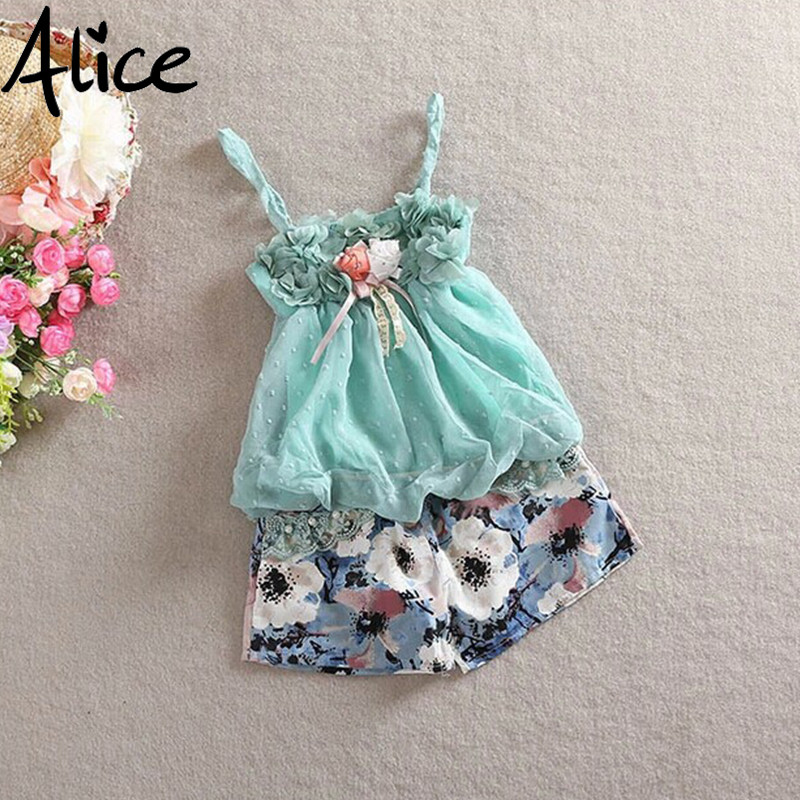 2015 new spring summer babys girls Childrens Princess two pieces sets of Outfits & Sets flower lace T-shirts + shorts free ship