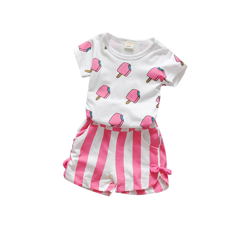 Summer Baby Girls Clothes Set 100% Cotton Ice Cream T-shirts + Shorts 2pcs Infant Girls Sports Suit Toddler Girls Clothing Set