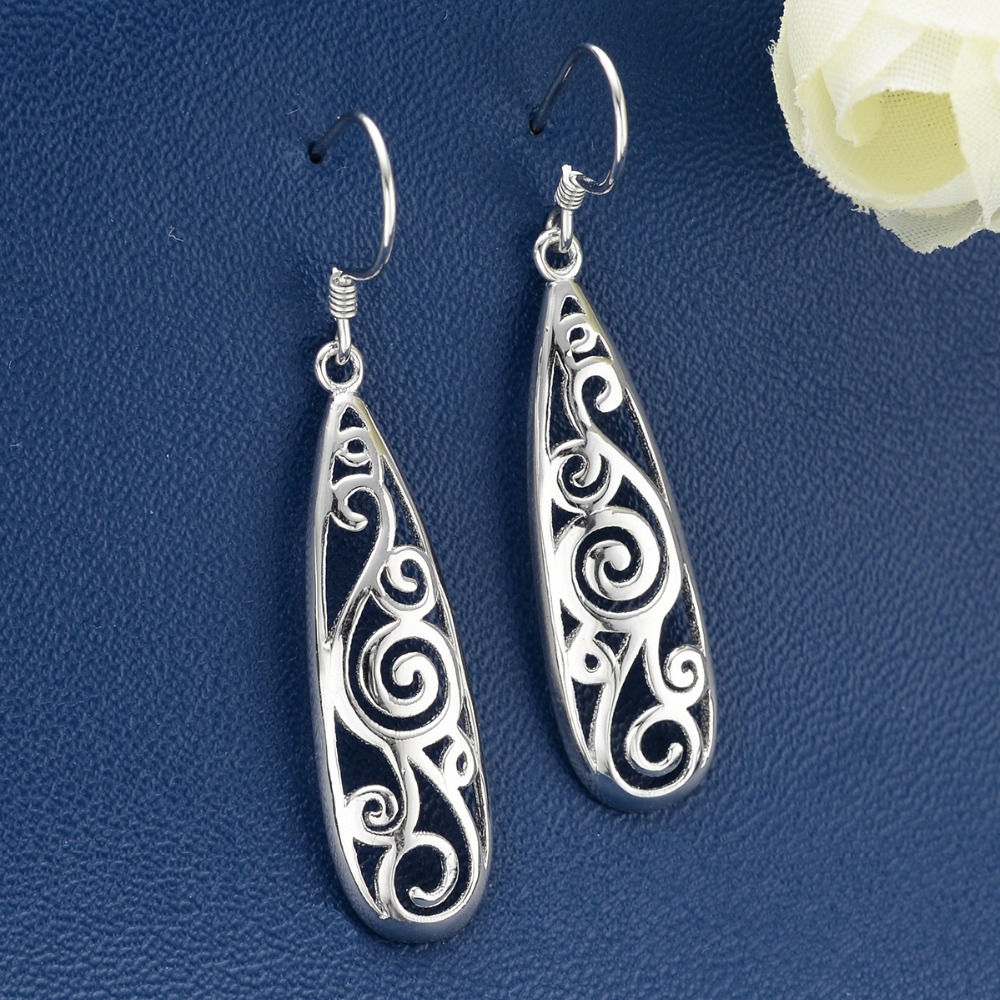 BELLA Fashion 925 Sterling Silver Art Deco Teardrop Bridal Earrings Earrings Simple Open Filigree Dangle Earrings Wedding Party недорго, оригинальная цена