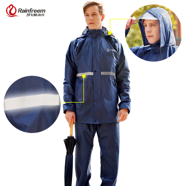 Rainfreemเสื้อกันฝนImpermeableผู้หญิง/ผู้ชายรถจักรยานยนต์Poncho S 6XLเดินป่าตกปลาRain Gear