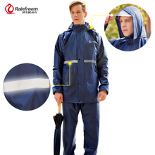 Rainfreem 비옷 정장 불 침투성 여성/남성 후드 오토바이 판쵸 S 6XL 하이킹 낚시 비옷