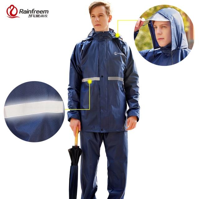 Rainfreemレインコートスーツ不浸透性女性/メンズフード付きオートバイポンチョS 6XLハイキング釣り雨具