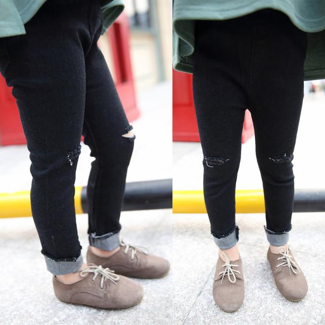 Calças de brim meninas miúdos rasgado calças primavera outono buracos bebê sólido preto moda calças crianças ação de graças outfit roupa 3-7 T