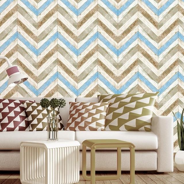 Haokhome Modern Wood Herringbone Wallpaper Blue Tan Off White Yellow Textured Living Room