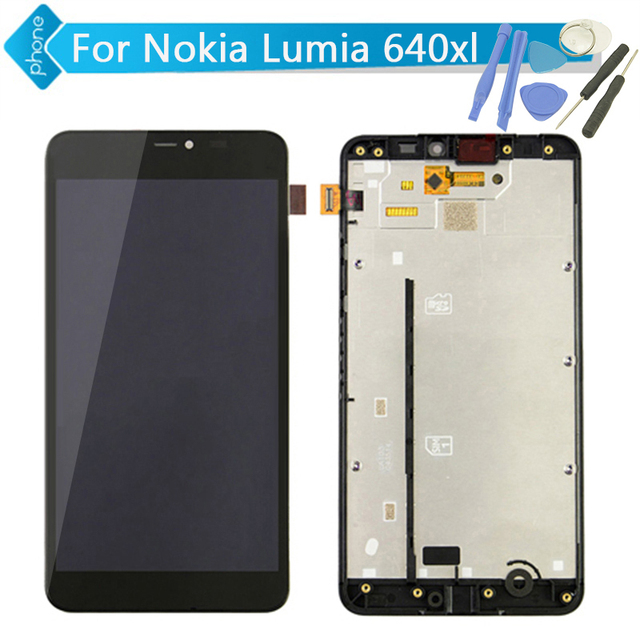 Para microsoft nokia lumia 640 xl 640xl display lcd touch screen digitador assembléia com frame + ferramentas