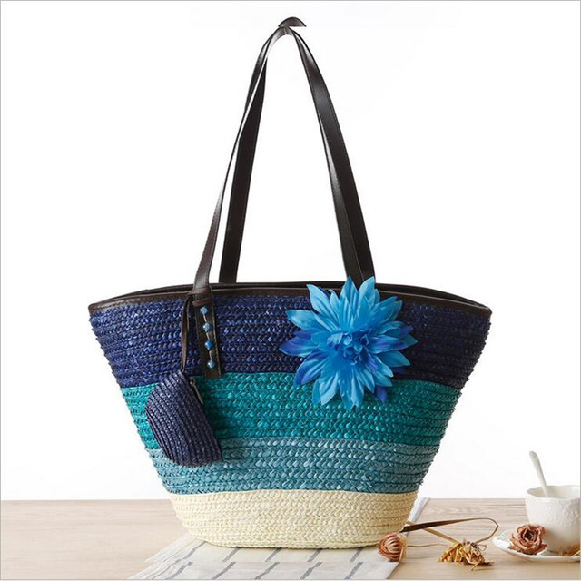 Qicai. Yanzi paja de trigo flor raya del color hierba tejer bolso ...