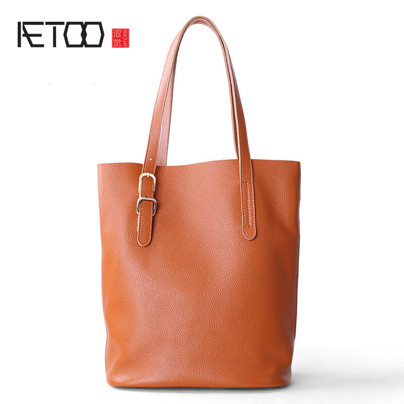 AETOO Bag female 2017 new first layer cowhide shoulder handbag female big bag leather special package tote simple female bag aetoo casual fashion shoulder bag leather new female package first layer of leather bags simple temperament leisure travel packa