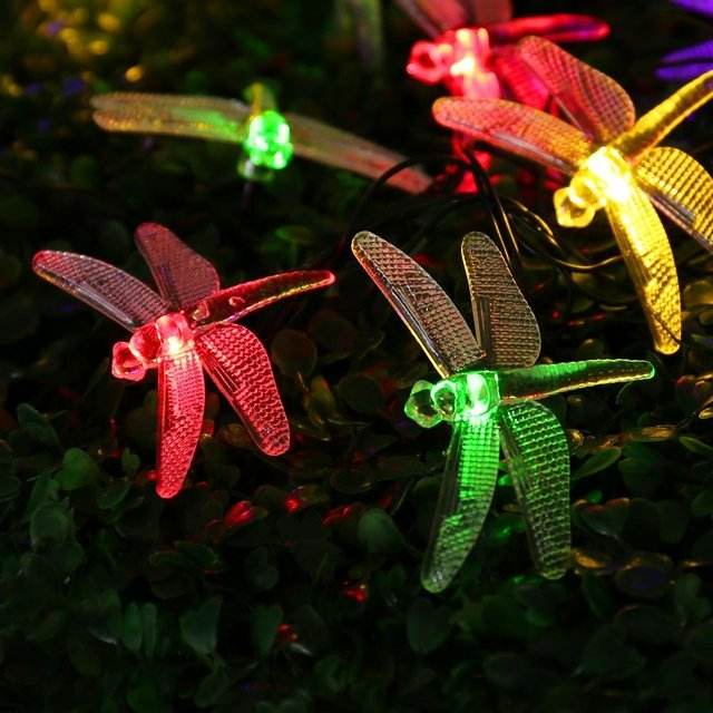 Outdoor Dragonfly Solar String Lights 16ft 20 LED 8 Modes Waterproof Fairy Lighting for Christmas Trees, Garden, Patio, Wedding