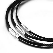 Braided Leather Choker Necklace For Men Women Black Stainless Steel Rope Chain Collier Male Female Neclace Chocker Jewelry 2018(China)