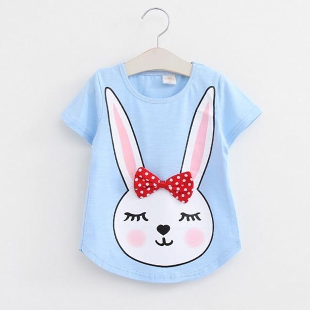 3111b2a05 € 4.53 |Envío del verano T Camisas para niñas de algodón de manga corta  impresión de la historieta del conejo marca Camisetas Tees niños lindo ...