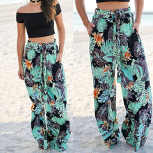 Women Floral Wide Leg Pants Casual Boho Beach High Elastic Waist Trousers Sashes Summer Loose Homewear Hot