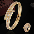 Luxury Brand Copper Jewelry Sets Gold Bangles & Rings Sets Dubai Jewelry AAA Zircon Bracelet Anel Love Bangles Pulseira Man