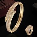 Marca de luxo Conjuntos de Jóias de Ouro Pulseiras & Anéis de Cobre Define Dubai Jóias AAA Pulseira de Zircão Anel Amor Bangles Pulseira Homem