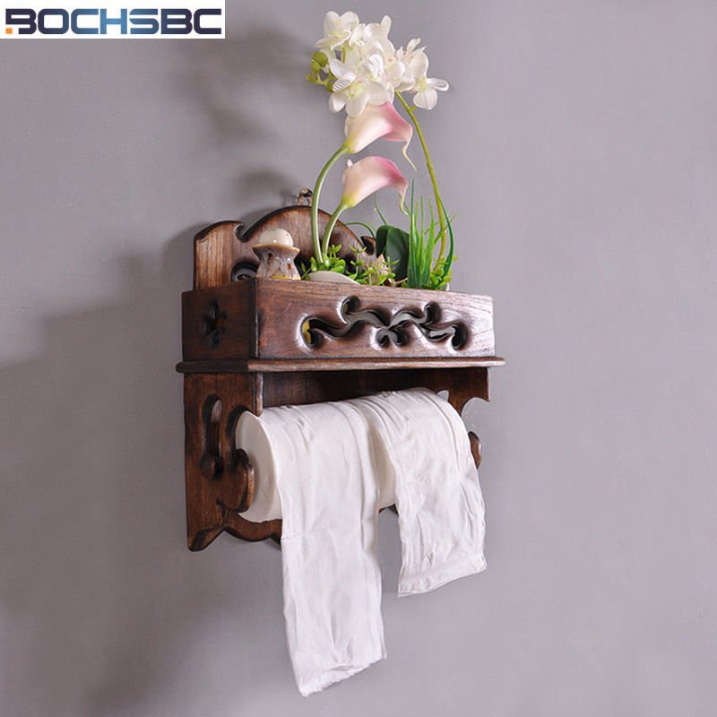 BOCHSBC Retro Paper Holder Solid Wood Kitchen Roll Tissue Holder Mobile Phone Towel Holder Bathroom Toilet WC Roll Holder thai solid wood kitchen towel holder roll holder creative retro toilet paper towel holder roll holder lo5311141
