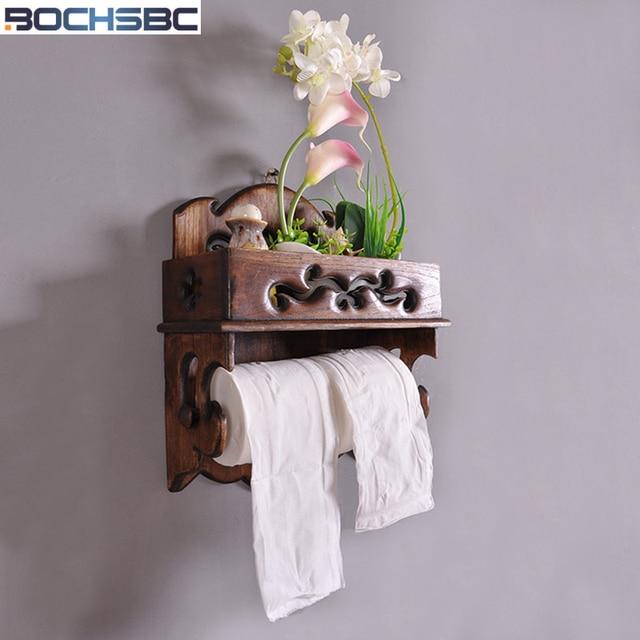 Porta Asciugamani Per Bagno In Legno.Bochsbc Retro Porta Carta Da Cucina In Legno Massiccio Rotolo Tissue