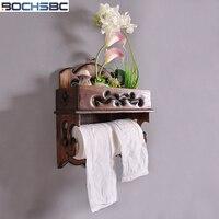 BOCHSBC Retro Paper Holder Solid Wood Kitchen Roll Tissue Holder Mobile Phone Towel Holder Bathroom Toilet WC Roll Holder