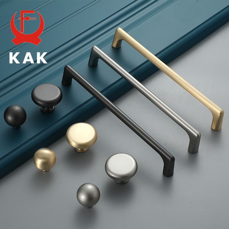 KAK Zinc Alloy Pearl Gray Gold Cabinet Handles Solid Drawer Knobs Kitchen Cupboard Door Pulls Furniture Handle Cabinet Hardware