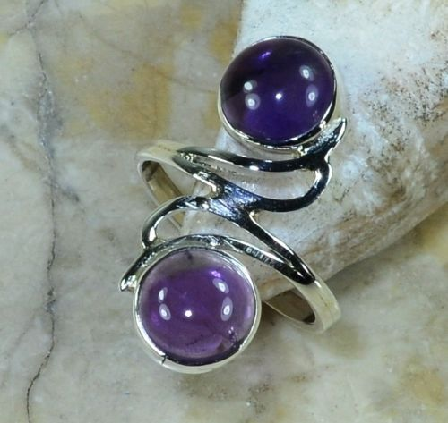 Hand make  Nature Amethyst Ring 100% 925 Sterling Silver, 4.1G, Size:5  , Gift BOX