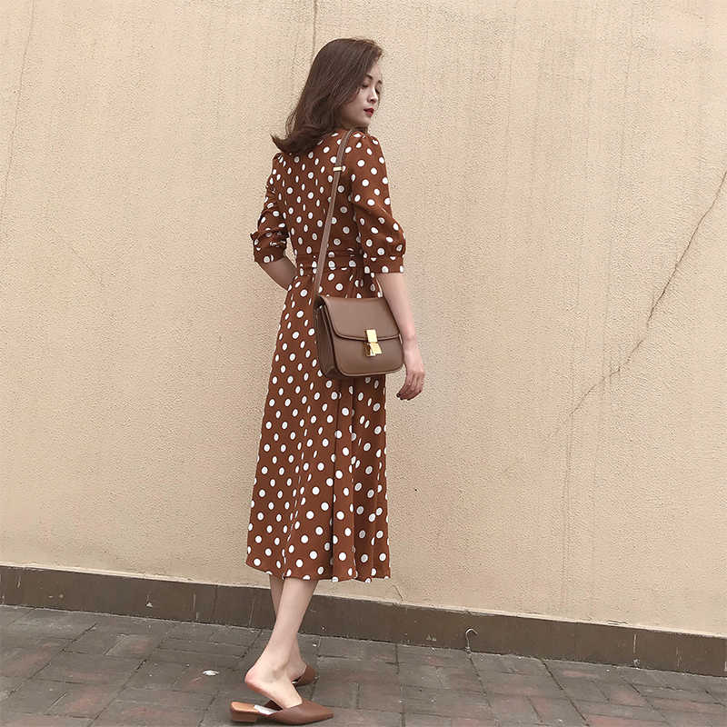 CBAFU vitnage, длинное платье в горошек, v-образный вырез, половина рукава, тонкая талия, женские летние повседневные платья, vestidos, Ретро стиль, D809