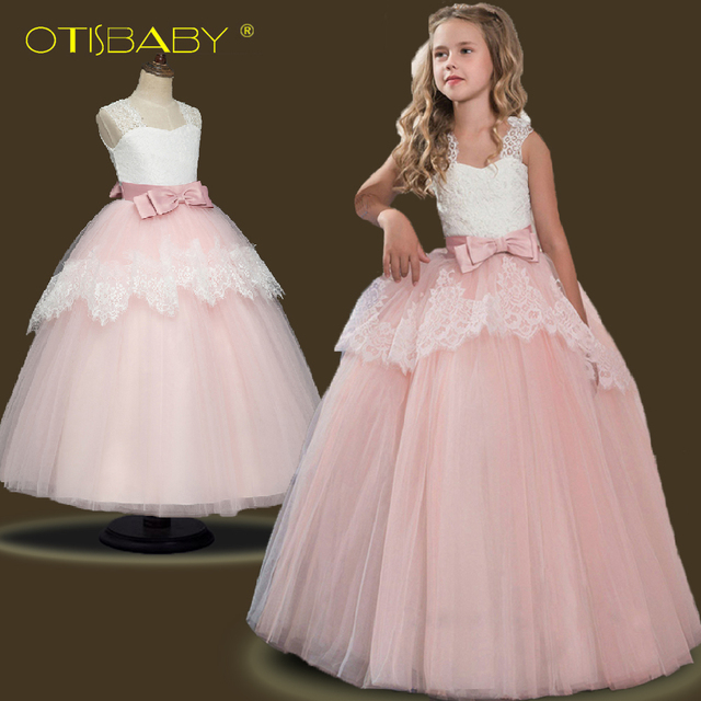 013e0f0394a0 Summer Girls Lace Flower Princess Dresses Kids Party Ball Gown Long ...