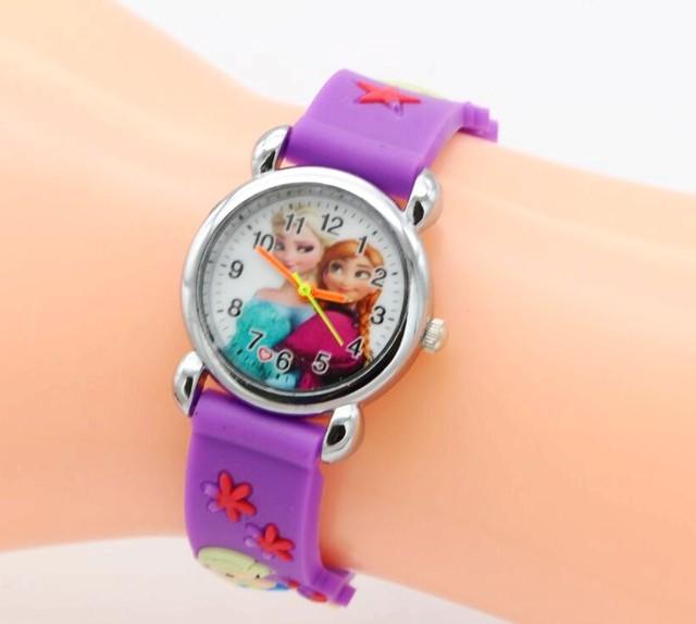 Relojes Mujer 2017 Infantil Reloj Snow Queen Princess elsa anna Cartoon Watch 3D Children Kids Quartz Wristwatches Clock