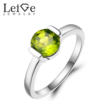 Leige Jewelry Natural Peridot Ring Proposal Ring August Birthstone Round Cut Green Gemstone 925 Sterling Silver Solitaire Ring