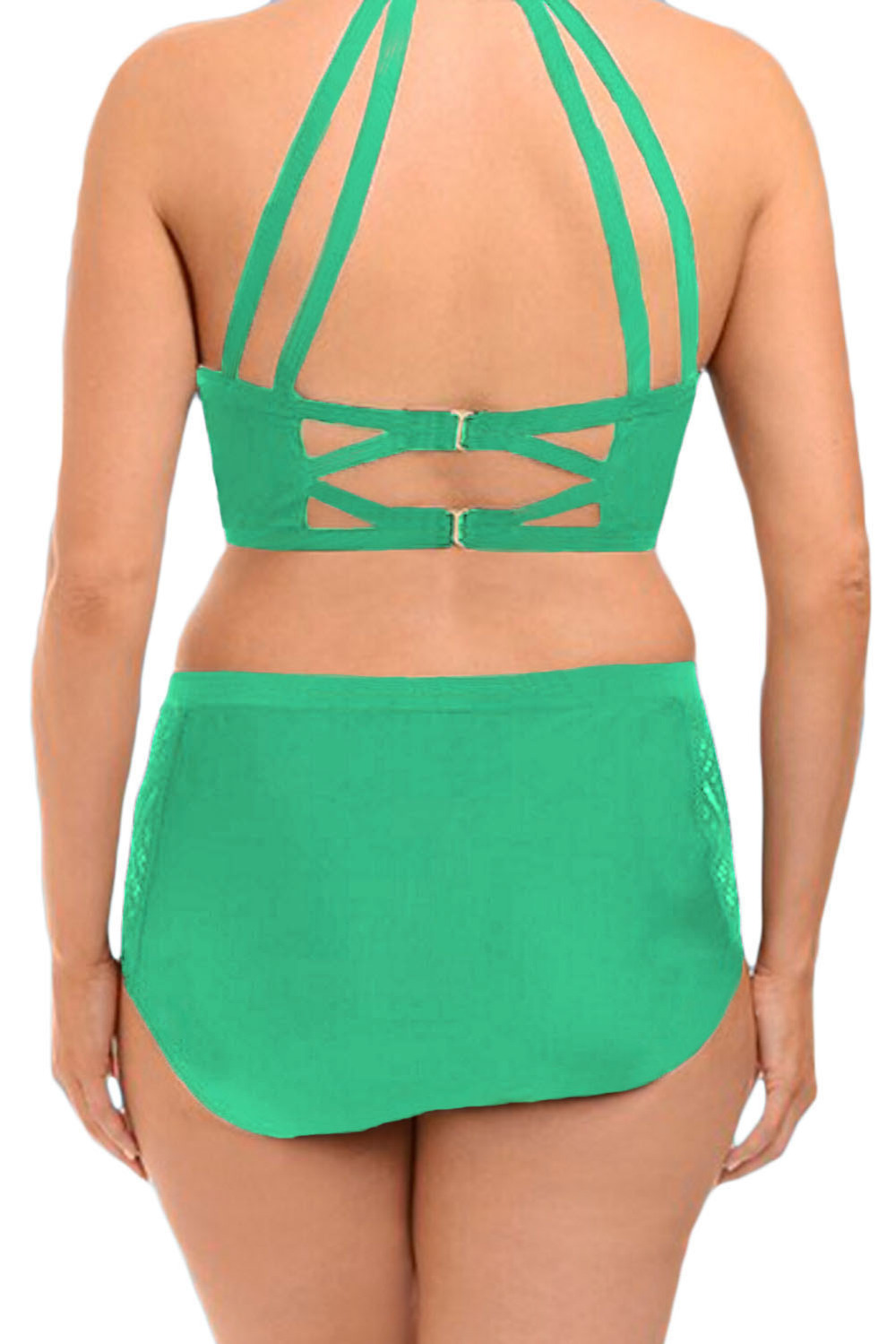 4d2993cd11 high neck padded swimsuit Plus Size High Waist Swimsuit Halter Padded Push  Up Swimwear Bikini for Large Breasted Women 4XL 41991-in Bikinis Set from  Sports ...