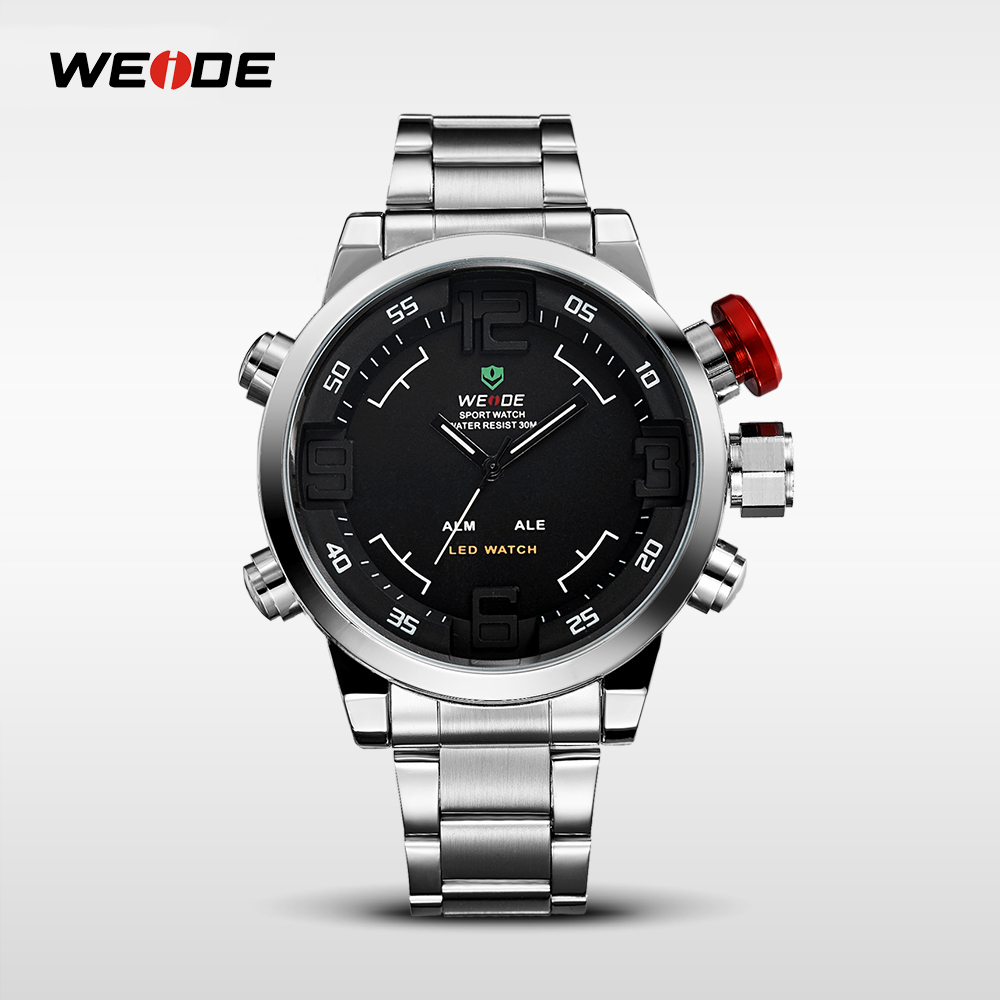 WEIDE Brand Mens Sports Watches Waterproof Military Stainless Steel Band Wrist Watch Top Brand LED Analog Quartz Clock Man 2309 weide irregular men military analog digital led watch 3atm water resistant stainless steel bracelet multifunction sports watches