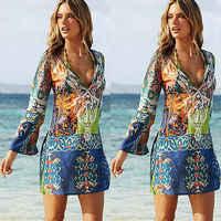 Vestido de praia feminino fatos de banho estampados biquinis encobri-ups beac vestido cachecol pareo sarong envoltório pára-sol feminino beachwear praia outwear