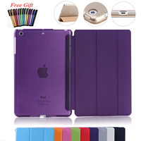 For Pad Mini4 Ultra Slim Magnetic Smart Cover PU Leather Case Transparent Back Case For Apple