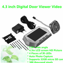 EU 4.3 inch Digital Door Viewer Video Night Vision IR 120 Angle Recording Door Viewer Doorbell Peephole Camera Supports TF Card