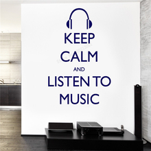 Wall Decoration Keep Calm And Lesten To Music Room Sticker Vinyl Art Removeable Poster Guaranteed Quality Beauty Ornament LY306 цена
