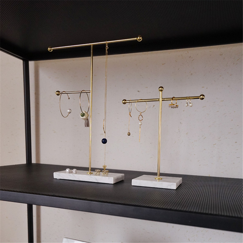 Nordic Metal Golden Storage Rack with Marble Base Chic Ins Modern