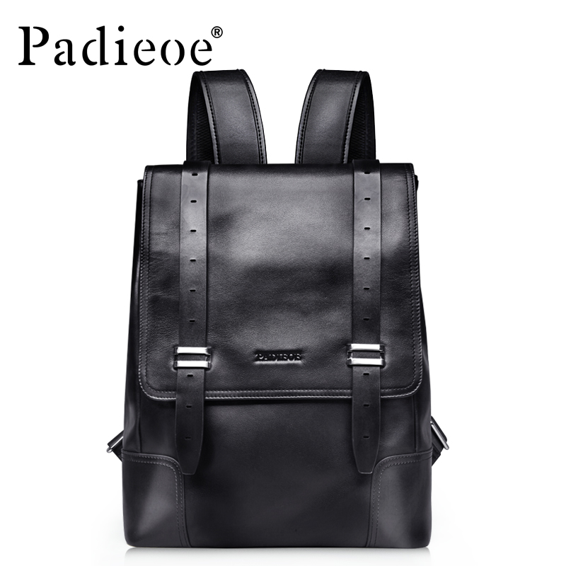 Padieoe Unisex Genuine Leather School Bags For Teenagers Backpack Famous Brand Men Travel Casual Cowhide Laptop Backpack roblox game casual backpack for teenagers kids boys children student school bags travel shoulder bag unisex laptop bags