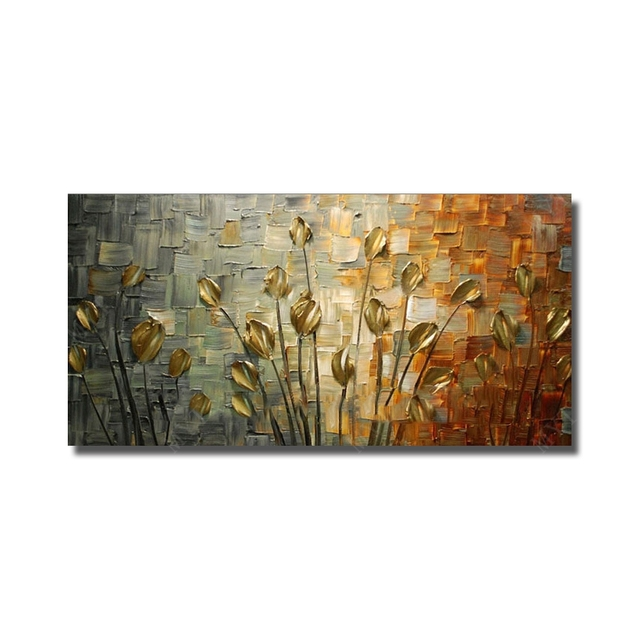 Handmade Texture Huge Abstract Oil Painting Modern Canvas Art Decorative Knife Flower Paintings For Wall Decor No Frame