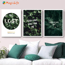 Green Wall Art Canvas Painting Landscape Nordic Posters Leaves Leaf Picture Tree Decoracion Unframed