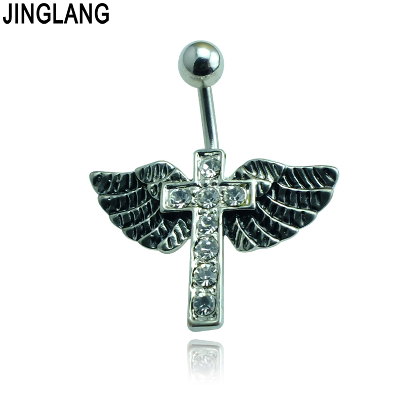 Wholesale Fashion Rhinestone Cross Wing Belly Button Rings -8155